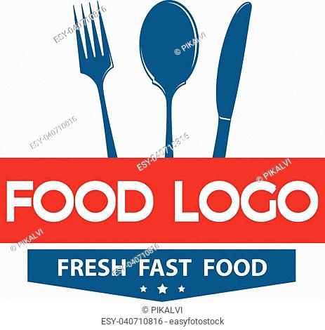 Fork, Knife and spoon sign food logo design template