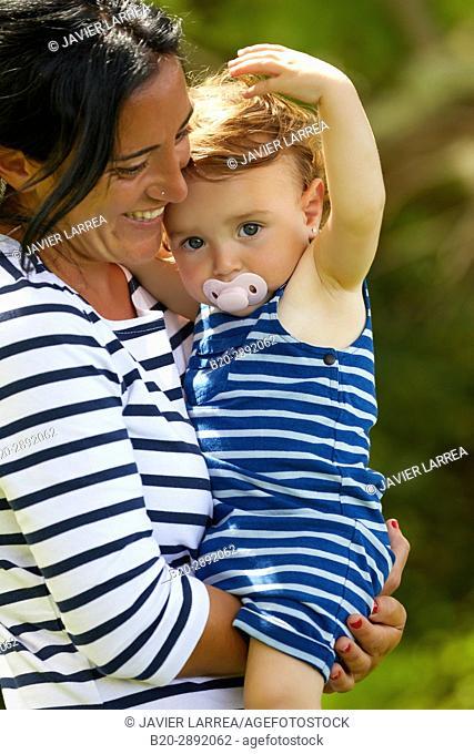 Mother and baby, Getaria, Gipuzkoa, Basque Country, Spain