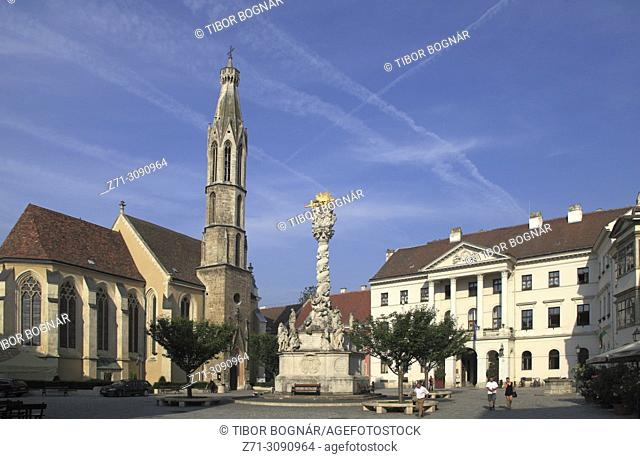 Hungary, Sopron, Main Square, Benedictine Church, Trinity Column, Government building,
