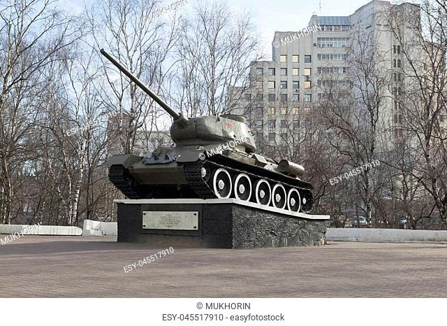 T-34 tank established in honor of military and labor Vologda heroism in World War II, Russia