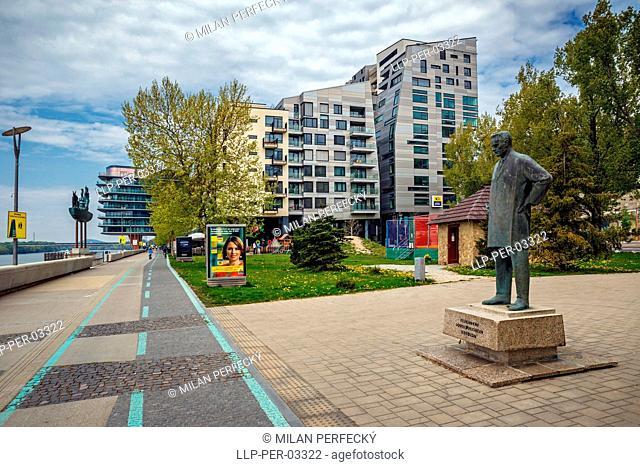 River Park, statue Jurkovic, Bratislava, Slovakia