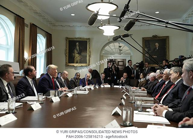 United States President Donald J. Trump speaks during a Cabinet Meeting at the White House in Washington, DC on October 21, 2019
