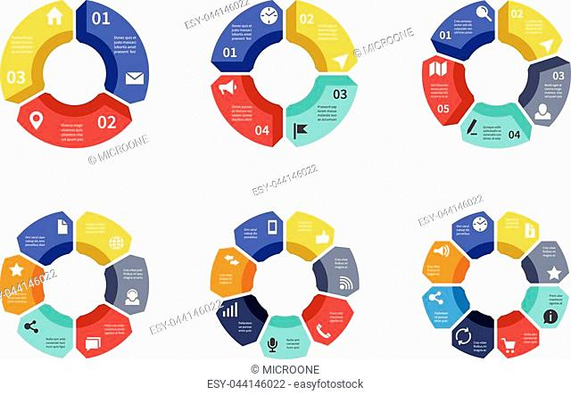 Circle infographic, chart, diagram, process workflow vector template. Business presentation with 3 and 4, 5 and 6, 7 and 8 options, parts, steps