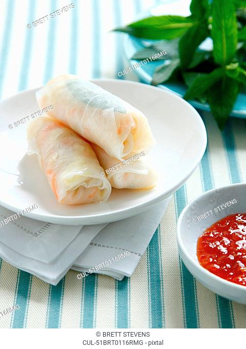 Plate of salad rolls and sauce