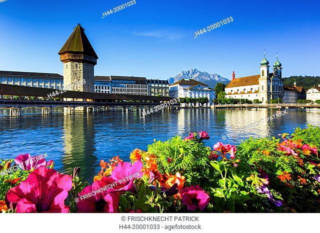 Chapel bridge with Pilatus, Lucerne, Switzerland