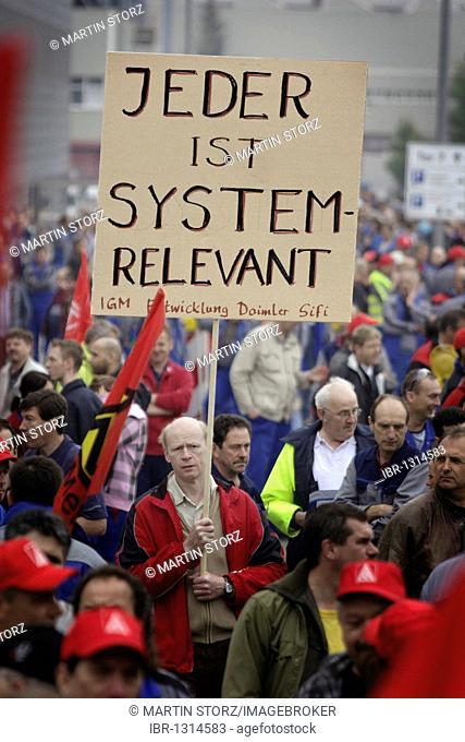 Warning strike and rally at Daimler, Sindelfingen plant, against redundancies in the crisis, an initiative of the IG Metall Baden-Wuerttemberg, Sindelfingen