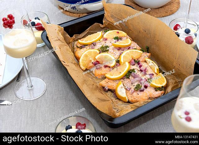 Freshly made salmon, dessert, Virgin Colada