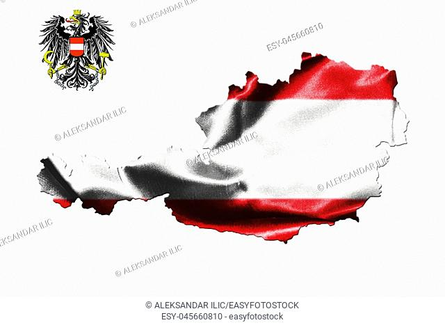 Map of Austria with national flag isolated on white background With Coat Of Arms Eagle Emblem