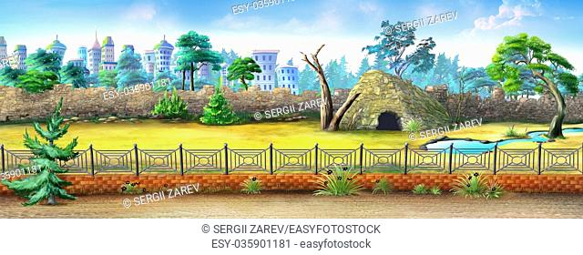 Digital painting of the City Zoo with fence, trees and small animal house