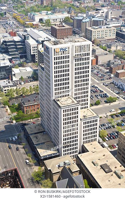 Aerial view of National City Bank Building in downtown Columbus, Ohio taken from the James A  Rhodes State Office Building