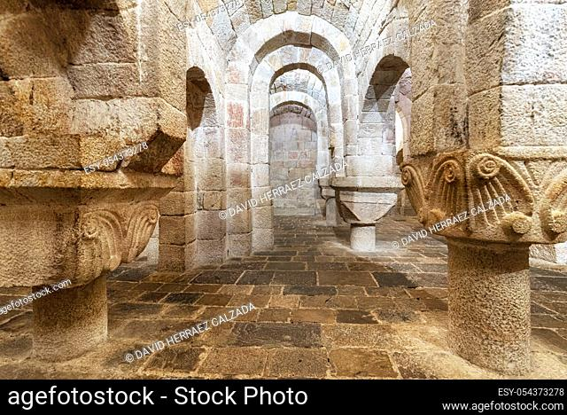 Leyre, Spain - August 10, 2019 : Interior of the ancient romanesque crypt of the Church of Holy Savior of Leyre Iglesia de San Salvador de Leyre , Navarre