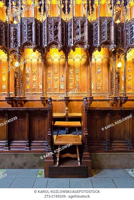 UK, Scotland, Lothian, Edinburgh, Interior view of the Thistle Chapel in the St Giles' Cathedral.