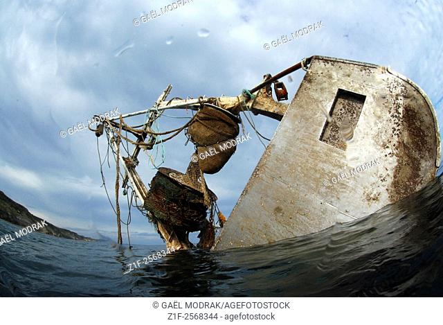 Fishboat wrecked in Normandy, France