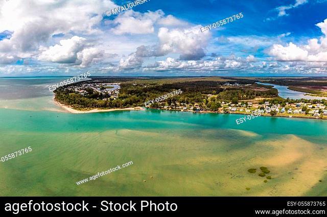 Aerial drone view of Beelbi Creek, Hervery Bay, Queensland, Australia
