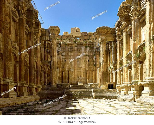 Interior of Temple of Bacchus in ancient city of Baalbek, Lebanon, Middle East