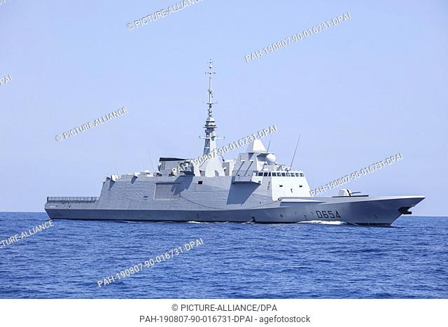 07 August 2019, Israel, Haifa: French military ship sails during a multi military forces drill. Israeli Defence Forces in cooperation with US