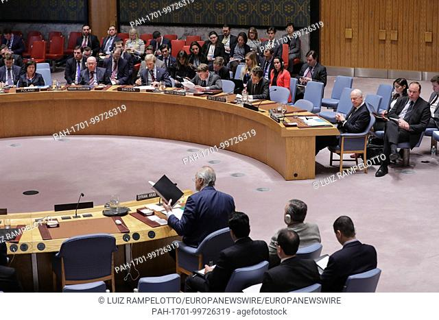 United Nations, New York, USA, February 14 2018 - Staffan de Mistura, United Nations Special Envoy for Syria During the Security Council meeting on the...