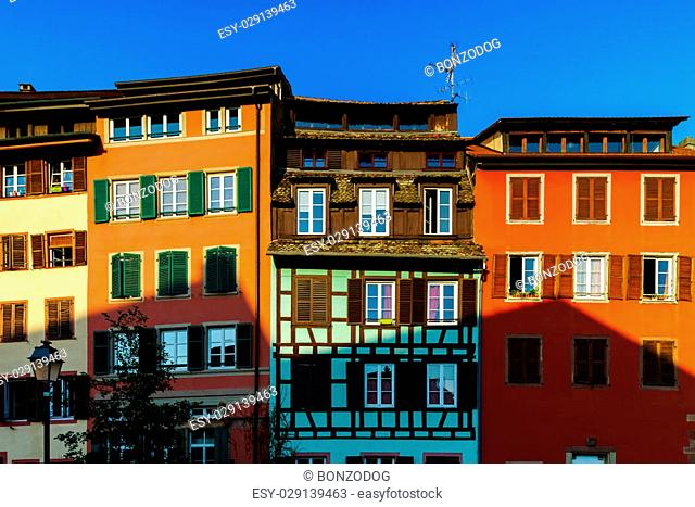 Classic colorized timber-framed alsacien houses in the street of Little France, Strasbourg, touristic concept