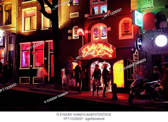 Erotic museum neon sign in red light district, Amsterdam