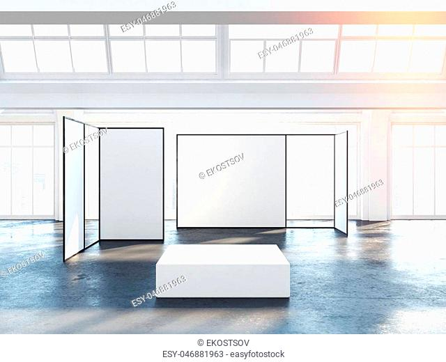 Bright exhibition hall in white interior with blank walls and large windows. 3d rendering