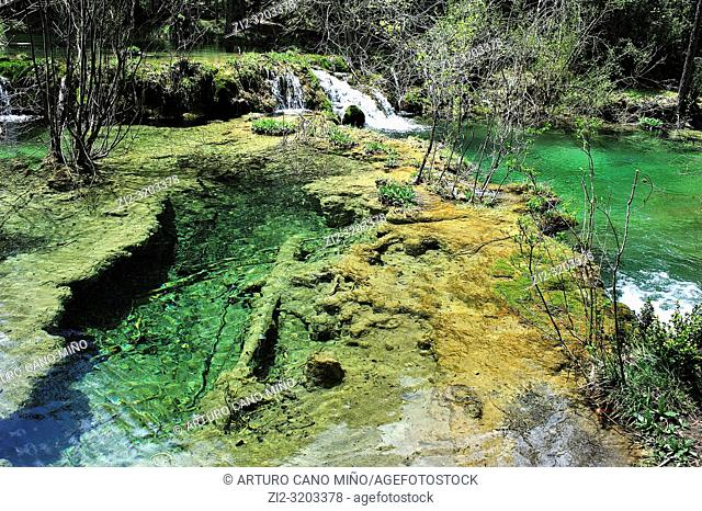 The Source of the River Cuervo Natural Monument. Serrania de Cuenca Natural Park. Cuenca province, Spain