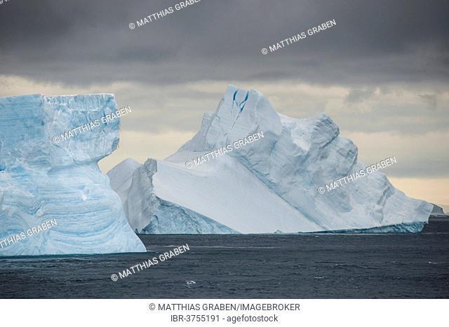 Icebergs floating in the South Atlantic Ocean, Weddell Sea, Antarctic Peninsula, Antarctica