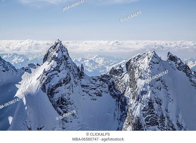 Air view of the peaks of Torrone in winter, Valle del Forno, Maloja pass, Engadine, Canton Grigioni, Switzerland