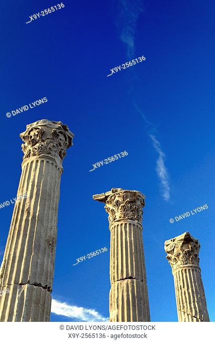 Greek Roman city of Laodicea aka Laodikeia on the Lycos. Central colonnaded thoroughfare Holy Way Portico. Denizli, Turkey