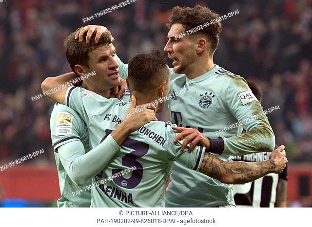 02 February 2019, North Rhine-Westphalia, Leverkusen: Soccer: Bundesliga, Bayer Leverkusen - Bayern Munich, 20th matchday