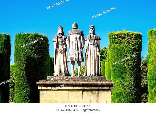 Spain, Cordoba, the statues of Ferdinand and Isabelle with Columbus in the gardens of the Alcazar de los Reyes Cristianos