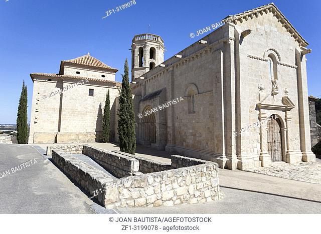 Monumental area,La Roca,Church Santa Maria, romanesque style in Sant Marti Sarroca, Penedes wine area,Catalonia