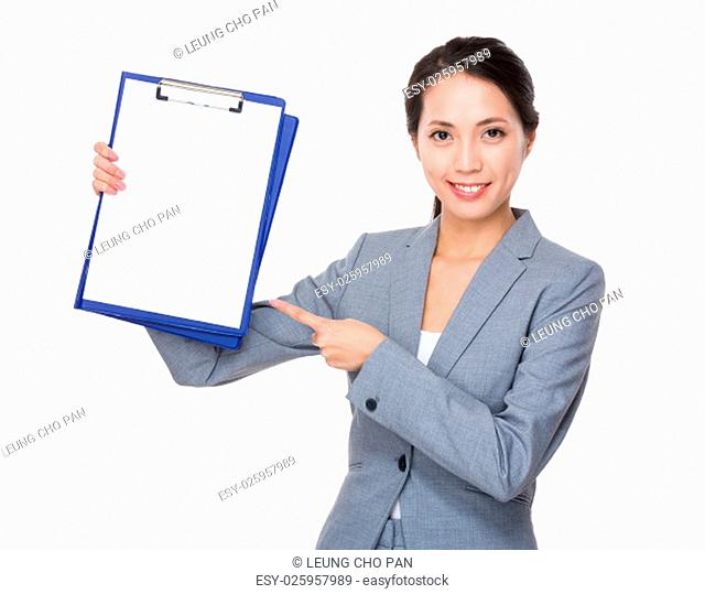 Businesswoman show with the empty page of clipboard