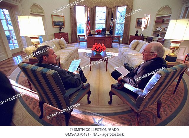 President George W Bush and Dick Cheney in the Oval Office. Image courtesy President (2001-2009 : Bush), 2002