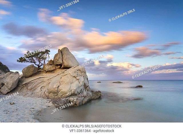 Rocks at Santa Giusta beach, near the famous Scoglio di Peppino, Costa Rei, Muravera, Sarrabus-Gerrei, Sardinia, Italy, Europe