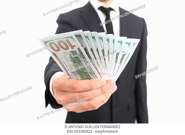 Close up of a business man hand holding money isolated on a white background