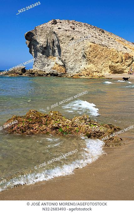 Cabo de Gata, Monsul Beach, Biosphere Reserve, Cabo de Gata-Nijar Natural Park, Almeria, Andalusia, Spain