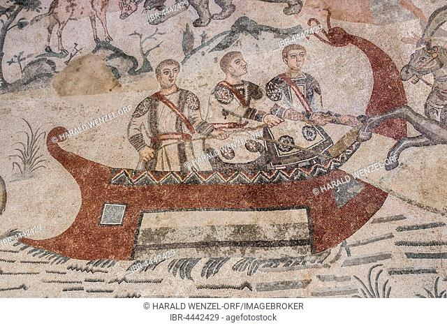 Ancient roman floor mosaic, animals are pulled on board a ship, passage of great hunting, the little hunt mosaic, Villa Romana del Casale
