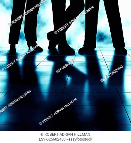Editable vector illustration of the legs and reflections of three businesspeople made using a gradient mesh