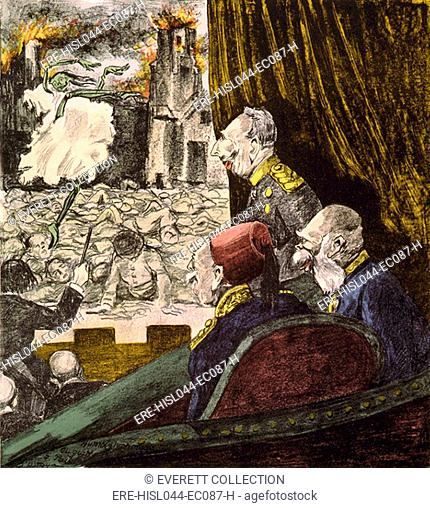 World War 1 political cartoon. Les vieux abonnés (The Old Spectators) by DOstoya, 1916. Kaiser Wilhelm II of Germany, Emperor Francis Joseph I of Austria