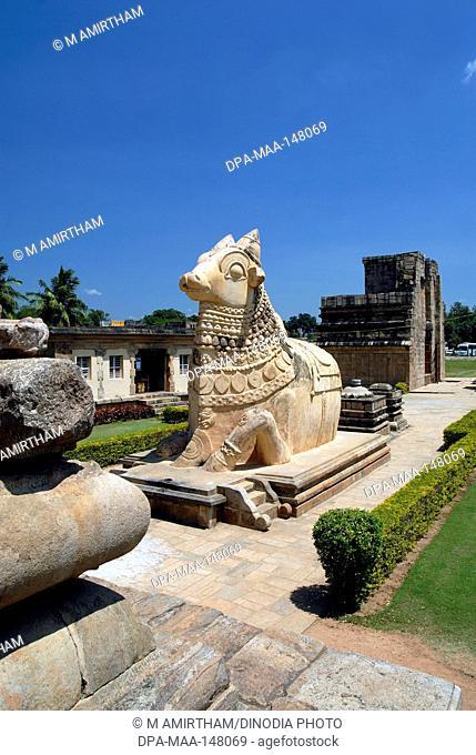 Statue of lord nandi ; Gangaikonda Cholapuram ; capital of the Cholas ; temple of Shiva ; Tamil Nadu ; India