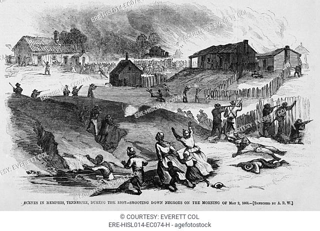 Race riot in Memphis, Tennessee, May 2, 1866. For two days, white mobs, which included policemen, firemen, and some businessmen