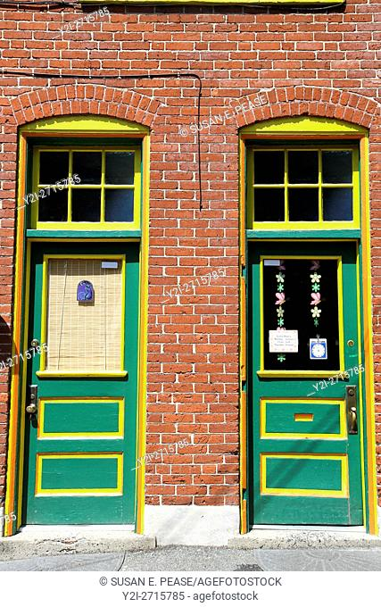 Colorful doors on a brick building in Jim Thorpe, Pennsylvania, United States, North America