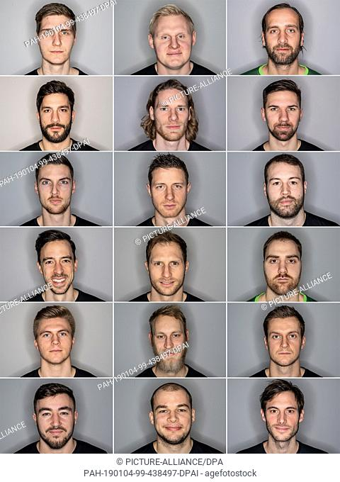 03 January 2019, Hamburg: The picture combo shows players of the German national handball team from top left to bottom right: Finn Lemke, Patrick Wiencek