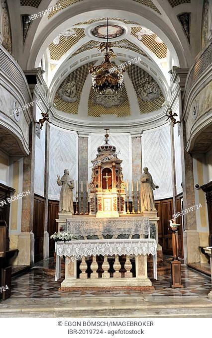 Altar area, Basilica di San Giacomo, built in 1742, Chioggia, Venice, Veneto, Italy, Europe