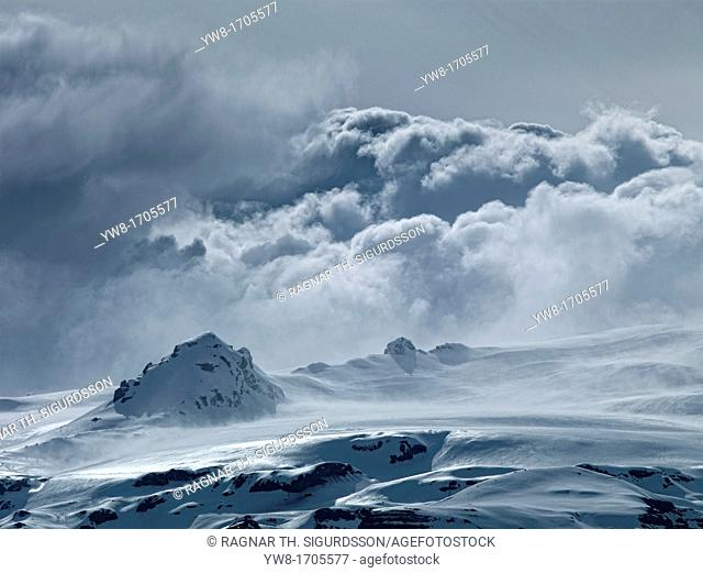 Cloud cover over Vatnajokull Ice Cap, Iceland