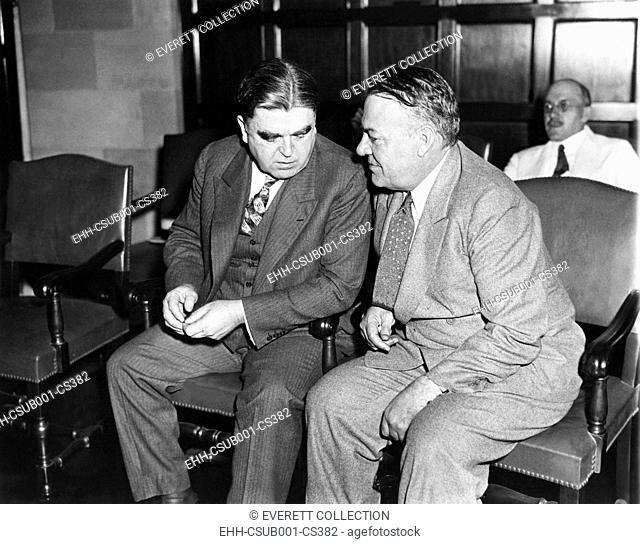 Hugh Johnson, NRA administrator with John L. Lewis (left) President of the United Mine Workers. On Sept. 12, 1933 they were at the NRA coal 'Code' hearing which...