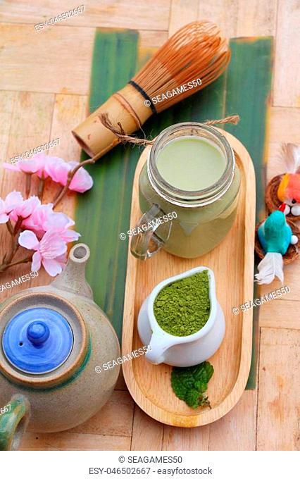 Green tea with milk and matcha tea powder
