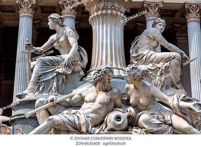Das Parlament in Wien, Österreich. Sitz der Regierung. Brunnen