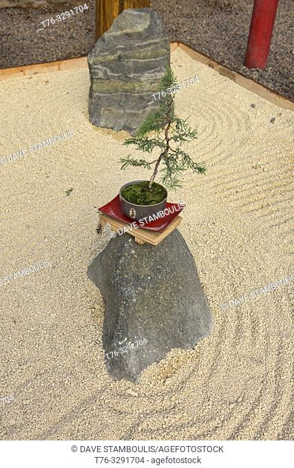 Zen sand garden in the Jardin de Corazon Japanese garden, La Serena, Chile