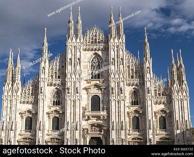 The Duomo. Milan. Italy. . Milan Cathedral is the cathedral church of Milan, Italy. Dedicated to Santa Maria Nascente, it is the seat of the Archbishop of Milan